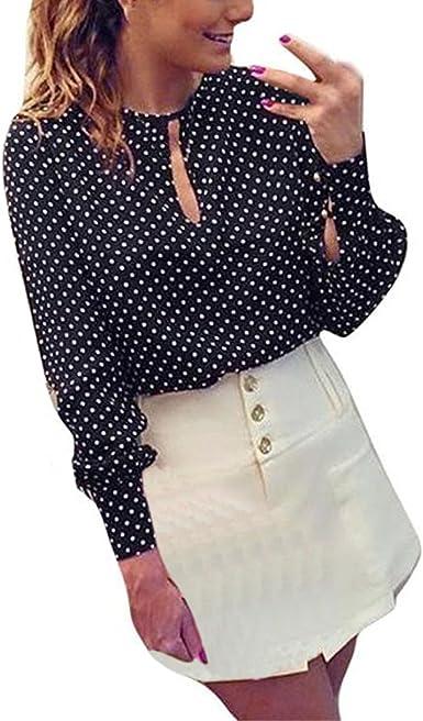 Mujer Camisas Manga Larga Lunares Estampado Camisetas ...