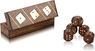 Handcrafted Wooden 5 Dice Box Holder Shaker Dice Roller Thrower Portable Dice Cup Five Dice Game Set Storage Case Decorati...