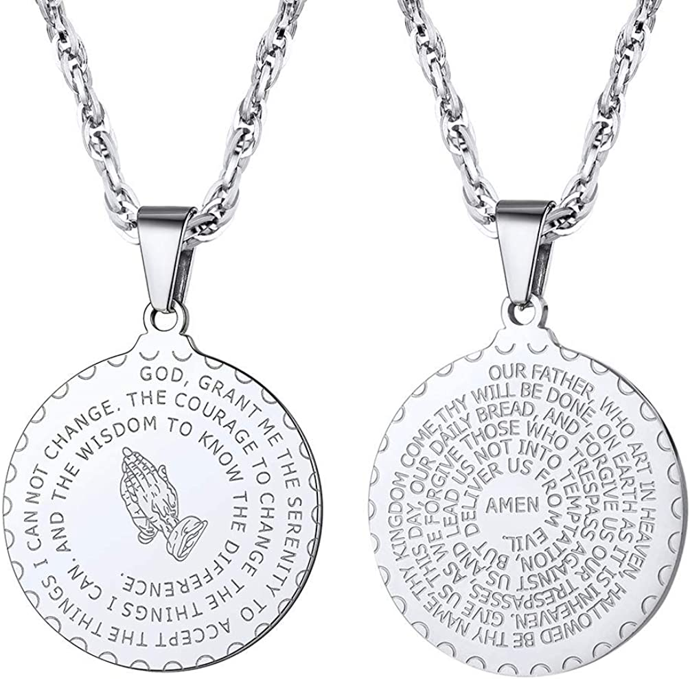 PROSTEEL Stainless Steel The Lord's Prayer Necklace, Praying Hands Pendant & Chain, Mens Womens Necklace, 22inch-24inch, Come Gift Box