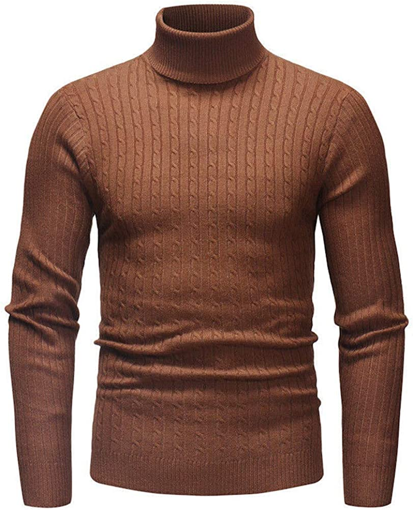 Men's Slim Fit Knitted Turtleneck Pullover Sweater Casual Autumn Winter High Neck Jumper Turtleneck