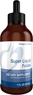 Designs for Health B12 + Folate Drops - Super Liquid Folate, 400mcg Natural Folate + 40mcg B12 (660 Servings / 1 fl oz)