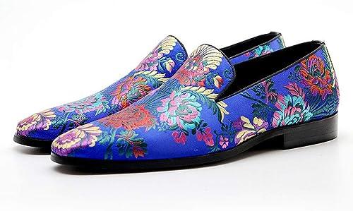 Exquisitos zapatos de Cuero Lofter de Bordado for hombres, patrón de Flores Punta Puntiaguda Superior Slip Ons negro Colorido Color Casual transpirabilidad Resistente al Desgaste,zapatos para hombres