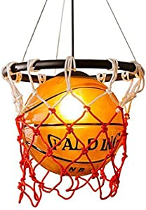 Creative Basketball Hanging Light Fixtures Pendant Lighting Chandelier Lamps, Ceiling Lights with Glass Lampshade for Children Bedroom Reataurant Bar Shops