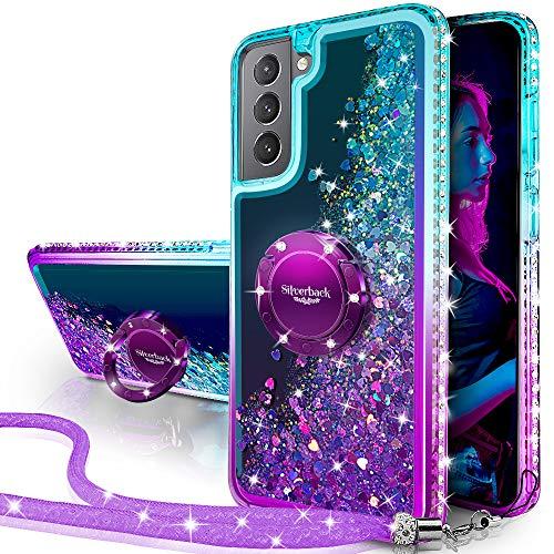Miss Arts Funda Samsung Galaxy S21 Plus 5G, [Silverback] Carcasa Brillante Purpurina con Soporte giratorios, Transparente Cristal Telefono Fundas Case Cover para Samsung Galaxy S21 Plus 5G -PÚRPURA