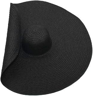TUOLUO, Sombrero De Playa Verano Negro ala Grande Sombrero para El Sol Plegable Papiro Gota De Agua Negro