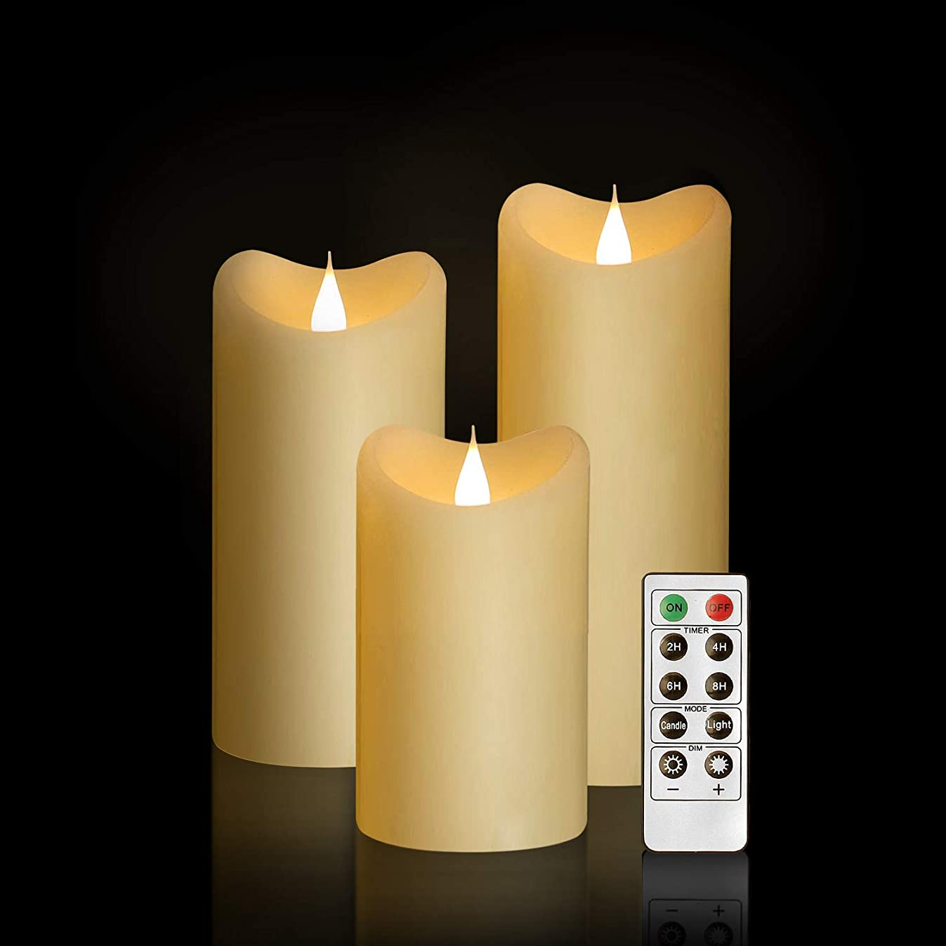 GiveU Moving Wick Flameless 10 Key Remote & Timer 3-Inch by 5/6/7-Inch Set of 3 Pillar Led, Battery Candles Flicker, Ivory, Ivory