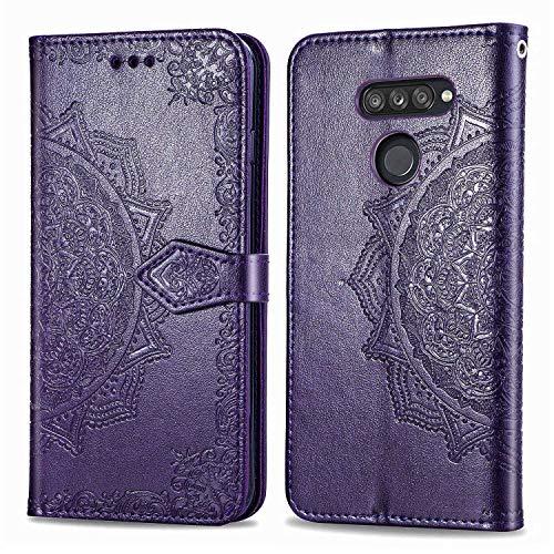 Bear Village Hülle für LG K50S, PU Lederhülle Handyhülle für LG K50S, Brieftasche Kratzfestes Magnet Handytasche mit Kartenfach, Violett