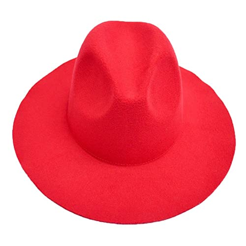 LETSQK Men s Vintage Black Wool Felt Wide Brim Fedora Hats Red ab6582e6b0e