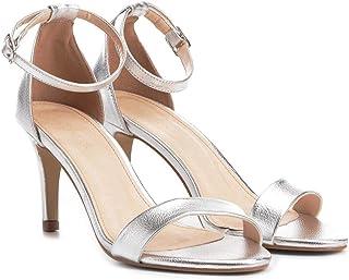 Sandália Couro Shoestock Salto Médio Naked Feminina