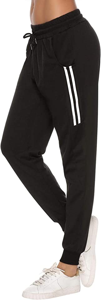 Damen Jogginghose Sporthose Lang Yoga Hosen Freizeithose Laufhosen Baumwolle High Waist Trainingshose für Frauen