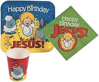 Happy Birthday Jesus Nativity Paper Tableware Set (64 Pieces)