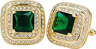 أزرار أكمام Vittorio Vico مربعة ملونة من الكريستال مزدوجة الماس للرجال - مجوهرات فريدة للرجال - أفضل هدية له ، الأب ، العم...