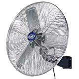 Deluxe Oscillating Wall Mount Fan, 30' Diameter, 1/2hp, 10,000cfm