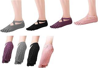 SANIQUEEN.G, 4 Pares Algodón Full Toe Non Slip Skid Yoga Calcetines con Dedos Pilates para Mujeres