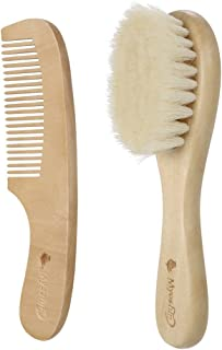 Anself 2Pcs Baby Hair Brush Comb Set Newborn Hairbrush Scalp Massage Kit Soft Wool Hair Wooden Handle