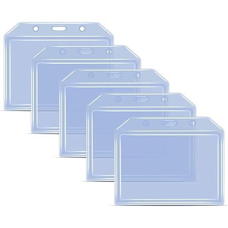 Teskyer Heave Duty Lot de 5 porte-badges en plastique transparent très épais en silicone souple pour cartes de crédit de taille standard