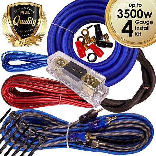 Complete 3500W Gravity 4 Gauge Amplifier Installation Wiring Kit Amp Pk2 4 Ga Blue - for Installer and DIY Hobbyist - Perfect for Car/Truck/Motorcycle/Rv/ATV BGR-KIT4-B-PK2-3500W