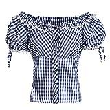 Gaudi-Leathers Damen GL6150 Trachtenbluse, Blau (Blau 065), 40