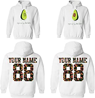 Custom Couple Floral Pattern Hoodies, Names and Numbers, him and her Matching Couples Hoodie
