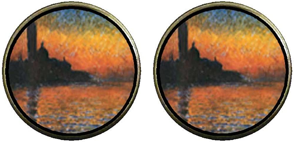 GiftJewelryShop Bronze Retro Style Monet's San Giorgio Maggiore Photo Clip On Earrings 14mm Diameter
