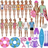ZTWEDEN 42Pcs Doll Clothes and Swimming Accessories for 12 inch Boy and Girl Dolls Includes Bikini Swim Suit Swim Trunks Skateboard Lifebuoys Boat Diving Swimming Sets for 12 inch Doll Beach Style