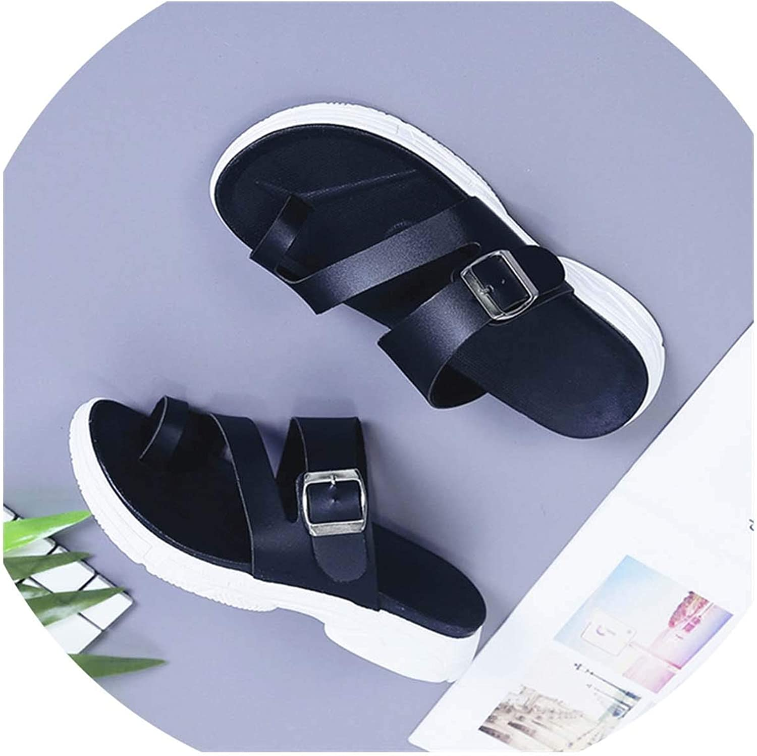 HuangKang Women's Sandals Korean Summer Women's shoes Non-Slip Sandals Women's Flat Sandals