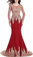 HEYG-Dress Vestir Moda Casual Cuello Redondo de Manga Larga Bordado de Encaje Vestido de Noche para Mujer Vestido Formal Formal (Color : Red, Size : US10)