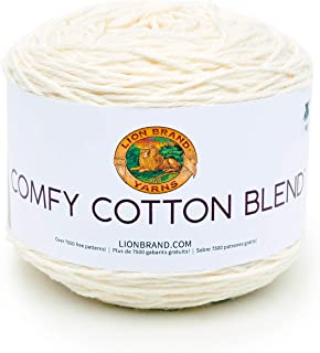 Lion Brand Yarn 756-098 Comfy Cotton Blend Yarn, Whipped Cream