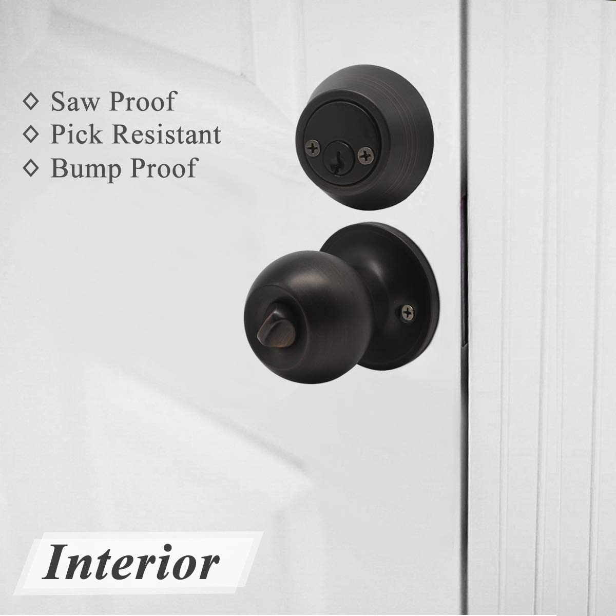 Porobrico 3 Pack Entry Door Knob with Double Cylinder Deadbolt Set Oil Rubbed Bronze Entry Door Lock Set with Key Keyway Front Entry Handleset Lockset Gate Hardware
