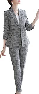 SUSIELADY Women's Two Piece Plaid Open Front Long Sleeve Blazer and Elastic Waist Pant Set Suit