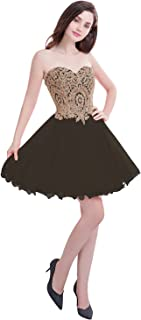 Short Prom Dress Bridesmaid Party Gowns Gold Appliques