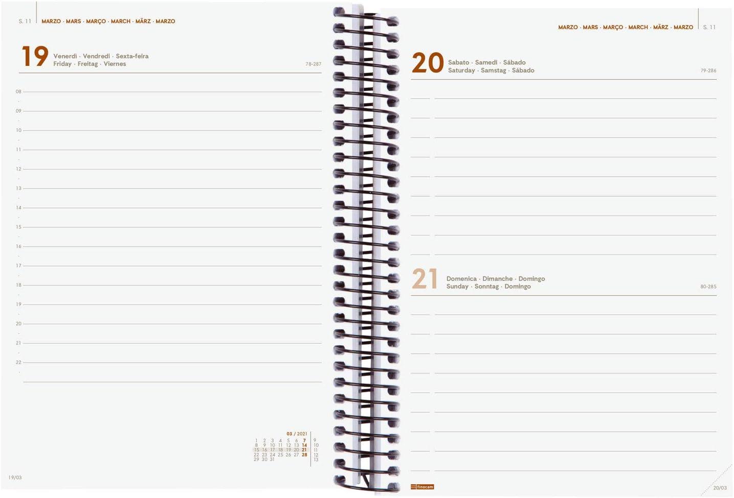 Finocam-Agenda 2021 Settimanale con rilegatura a Spriale Opaque Blu Internazionale