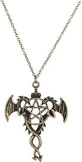 Boho Burnish Metal Flying Dragon Pentagram Pendant Charm Necklace