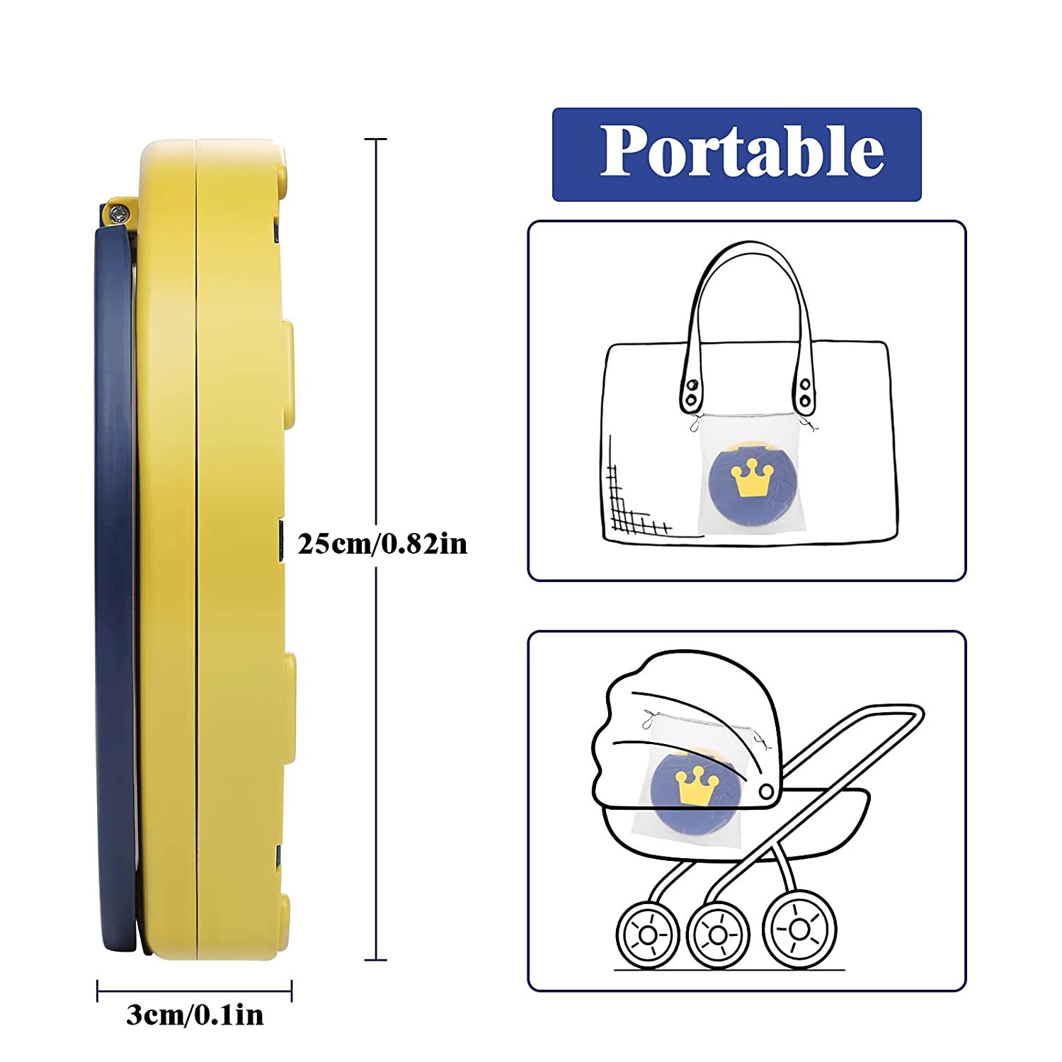 Lictin Portable Potty Training Seat, Kids Travel Potty, Foldable Toilet Seat for Toddlers, Baby Potty with Cleaning Bags for Outdoor