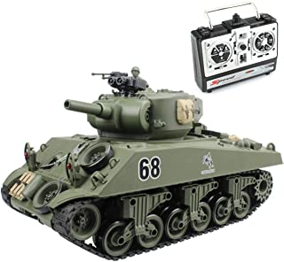 Fisca Remote Control Tank, 2.4Ghz 15CH 1/20 Sherman M4A3 Main Battle RC Tank That Shoot..