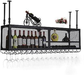 Ybzx Support à Verres à Pied, Support à vin de Type Plafond avec Petit Compartiment, Armoire Suspendue, Organisateur de Cu...