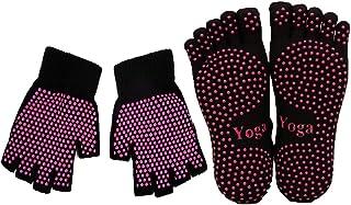 ThreeH, Conjunto de guantes y calcetines de yoga antideslizante para mujeres Yoga Dance y Pilates con dedos del pie Tamaño4.5-7