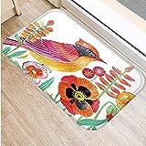 DQLREW Felpudo 3D impresión Alfombra de Franela para Puerta de Entrada de Cocina con patrón de pájaro Colorido Felpudo para Interior Alfombra Antideslizante Navidad Año Nuevo Regalo Decor-24x36inch