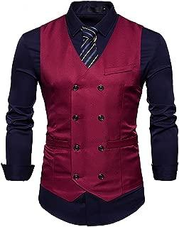 Mens Vest Double Breasted V-Neck Slim Fit Formal Dress Vest Business Waistcoat