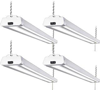 4 Pack 4FT LED Shop Light, Linkable Utility Shop Lights, 42W, 5000K Daylight White Shop Light for Garages, Workshops, Basements, Hanging or FlushMount, with Power Cord and Pull Chain, ETL