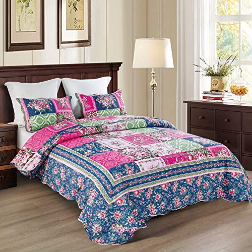 Qucover Tagesdecke Patchwork Bettüberwurf 220x240cm aus Baumwolle Gesteppte Decke Set mit Kissen Sofaüberwurf in Lila & Blau