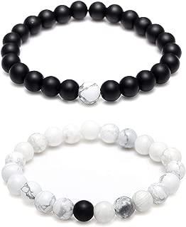 Couples His & Hers Bracelet Black Matte Agate & White Howlite 8mm Beads Bracelet Crown Bracelet Friendship Relationship Bracelet
