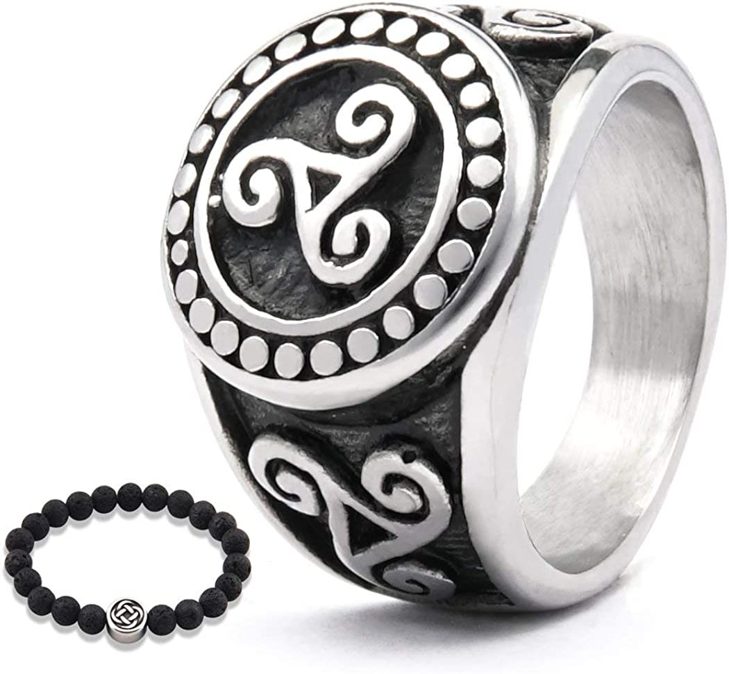Gungneer Irish Triskele Ring Celtic Jewelry for Men Stainless Steel Protection Scandinavian Amulet Accessory