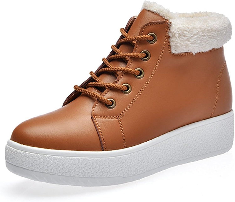 YPOST Kvinnors vintervarma snöskor Comfy Fur Lined Lace Up Casual Casual Casual Ankle skor  äkta