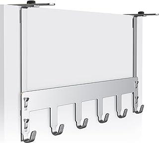 Luxear Garderoba drzwiowa ze stali nierdzewnej, regulowana bez wiercenia, haczyki na ubrania do zawieszenia, wewnątrz i na...