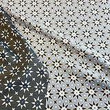 Stoff Meterware Baumwolle Jacquard Sterne grau gelb Silber