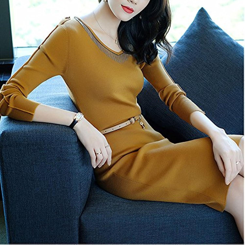 GX EIN EIN EIN Schritt Rock Frenulum langärmelige Kleid mit Langen ärmeln Stricken europäischen und amerikanischen Frauen Kleidung für den Herbst,gelb,XXXL B078SMGXW8  Clever und praktisch a71b38