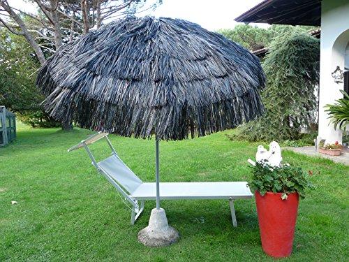 Maffei Art 6 Kenia, Parasol Rond diamètre cm 200, Couvert avec Rafia, Fabriqué en Italie. Couleur Noir