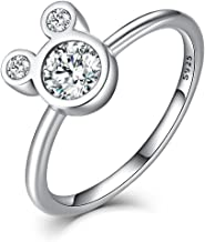 WOSTU Sterling Silver Rings 925 Sterling Silver Dazzling Mouse Rings Cubic Zirconia Rings for Women.