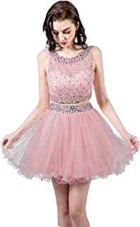 Two Piece Homecoming Dresses Short Beaded Tulle Prom Gowns